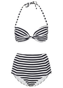 Topshop navy push up bikini