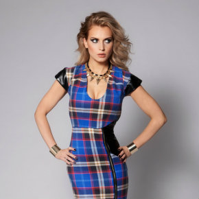 Made in Preston tartan zip panel dress