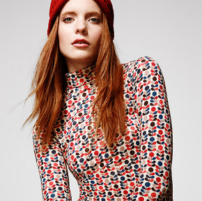 Orla Kiely turtle neck top for Uniqlo Heattech