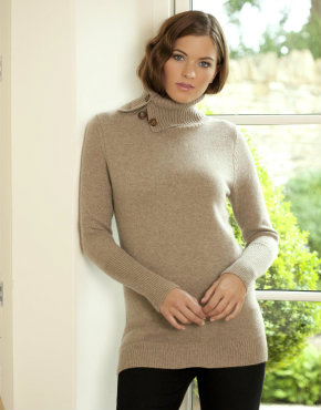 Cashmere & Wool Long Jumper with Roll Neck, Charlotte & Co