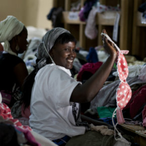 Frip Ethique's Rama Barre sorting clothes in Senegal