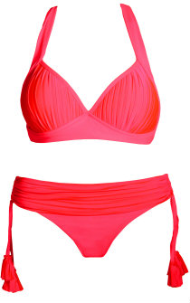 Neon swimwear: Seafolly Goddess bikini in red hot