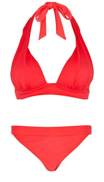 Neon swimwear: fluoro red bikini from River Island