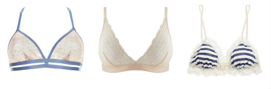 Soft cup triangle bras for smaller busts