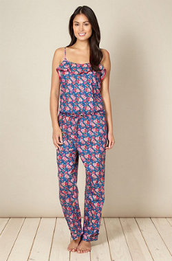 Cyberjammies blue rose patterned onesie