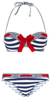 Kelly Brook Navy Bow Eyelet Stripe Bikini