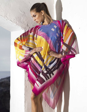 Nicole Olivier Brights Poncho Cover Up