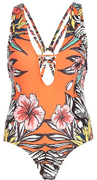 Orange Floral Plunge Front Swimsuit