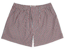 TM Lewin Navy Red Check Boxer Shorts