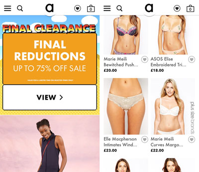 Asos shopping app