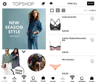 Topshop shopping app